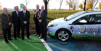 Photo of an electric car being charged at Durham College